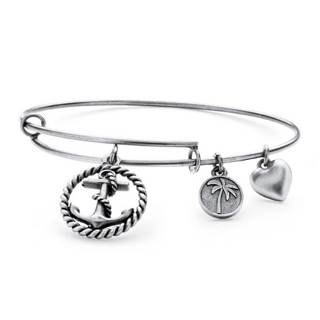 Anchor Charm Bangle Bracelet in Antique Silvertone at PalmBeach Jewelry
