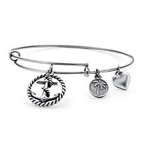 Anchor Charm Bangle Bracelet in Antique Silvertone