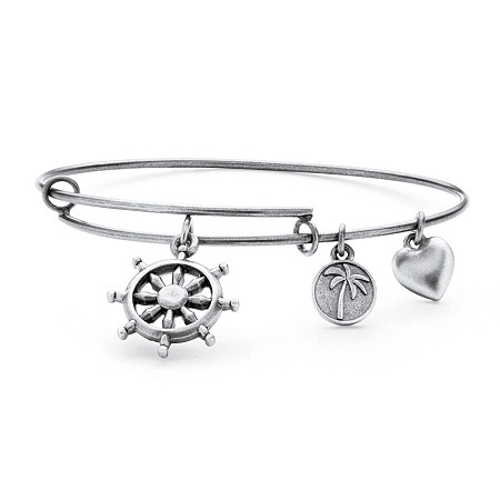Wheel of Life Charm Bangle Bracelet in Antique Silvertone at PalmBeach Jewelry