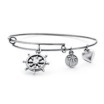 Wheel of Life Charm Bangle Bracelet in Antique Silvertone