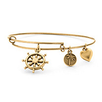 Wheel of Life Charm Bangle Bracelet in Antique Gold Tone