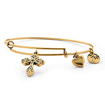 "Scrolled Cross Charm Expandable Bangle Bracelet in Antiqued Gold Tone 7""-9"""