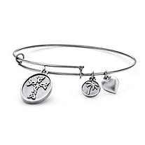"Celtic Cross Charm Expandable Bangle Bracelet in Antiqued Silvertone 7""-9"""