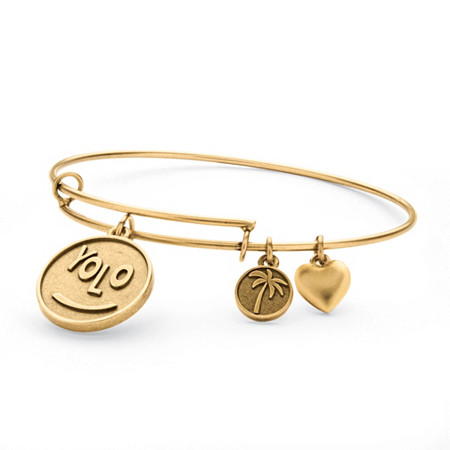 YOLO Charm Bangle Bracelet in Antique Gold Tone at PalmBeach Jewelry
