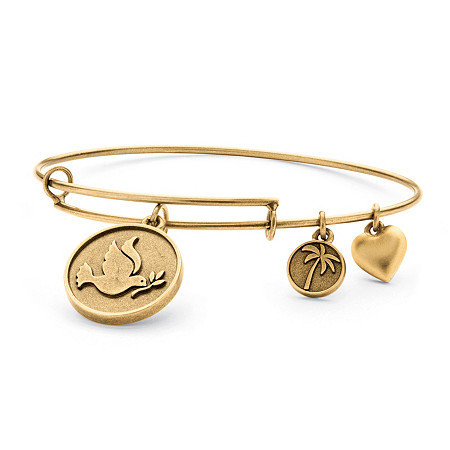 Dove of Peace Charm Bangle Bracelet in Antique Gold Tone at PalmBeach Jewelry