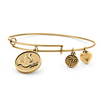 Dove of Peace Charm Bangle Bracelet in Antique Gold Tone