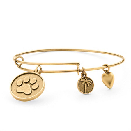 Paw Print Charm Bangle Bracelet in Antique Gold Tone at PalmBeach Jewelry