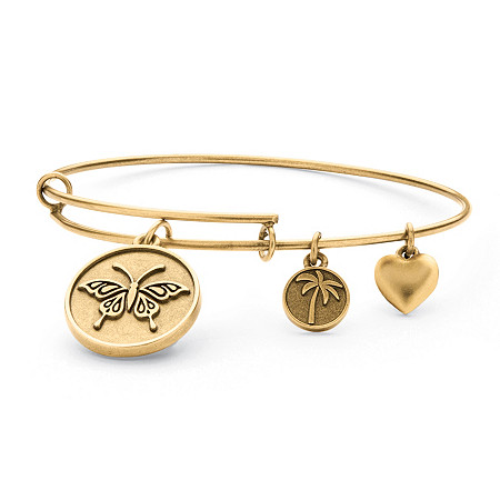 Butterfly Charm Bangle Bracelet in Antique Gold Tone at PalmBeach Jewelry