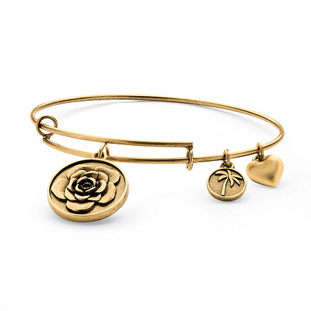 Rose Charm Bangle Bracelet in Antique Gold Tone at PalmBeach Jewelry