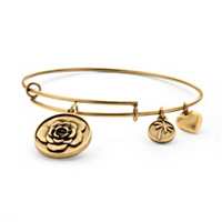 Rose Charm Bangle Bracelet In Antique Gold Tone ONLY $6.99