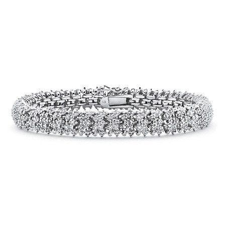 "Round White Diamond Snake-Link Tennis Bracelet 1/4 TCW Platinum-Plated 7"" at PalmBeach Jewelry"
