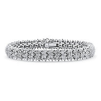 Round White Diamond Snake-Link Tennis Bracelet 7/8 TCW Platinum-Plated 7""