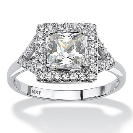 1.49 TCW Square-Cut Cubic Zirconia Vintage-Inspired Halo Engagement Ring in Solid 10k White Gold at PalmBeach Jewelry
