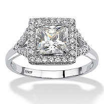 1.49 TCW Square-Cut Cubic Zirconia Vintage-Inspired Halo Engagement Ring in Solid 10k White Gold
