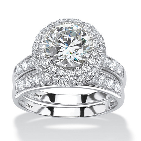 Round Cubic Zirconia 2-Piece Halo Bridal Ring Set 3.16 TCW in Solid 10k White Gold at PalmBeach Jewelry