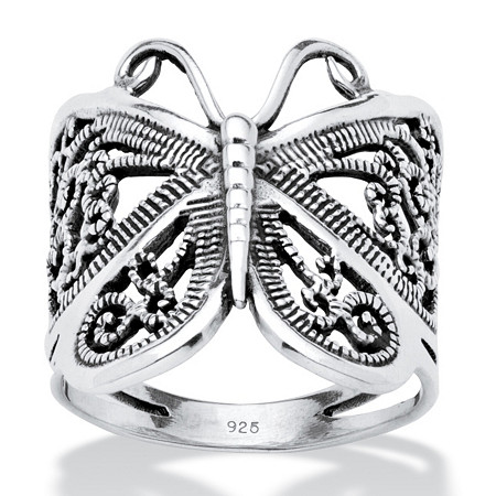 Filigree .925 Sterling Silver Butterfly Wrap Ring at PalmBeach Jewelry