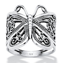 Filigree .925 Sterling Silver Butterfly Wrap Ring