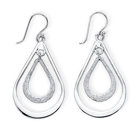 Polished and Textured .925 Sterling Silver Double Loop Drop Earrings at PalmBeach Jewelry
