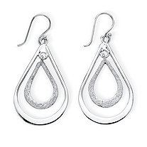 Polished and Textured .925 Sterling Silver Double Loop Drop Earrings