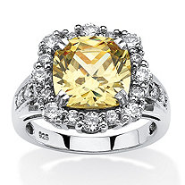 SETA JEWELRY 3.62 TCW Cushion-Cut Canary Cubic Zirconia Halo Ring Set in Platinum Over .925 Sterling Silver
