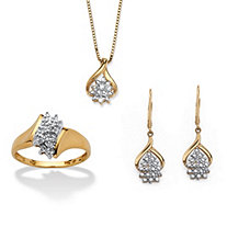 Diamond Accent Cluster Necklace, Ring and Drop Earrings Set in Gold-Plated Sterling Silver