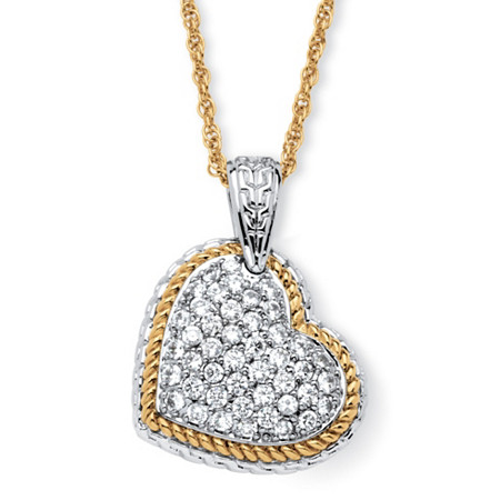 2.16 TCW Cubic Zirconia Two-Tone Puffed Heart Necklace 18k Gold-Plated at PalmBeach Jewelry