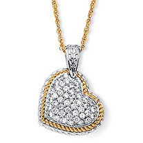 2.16 TCW Cubic Zirconia Two-Tone Puffed Heart Necklace 18k Gold-Plated