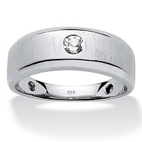 Men's .34 TCW Round Created Bezel-Set White Sapphire Band with Platinum Over Sterling Silver