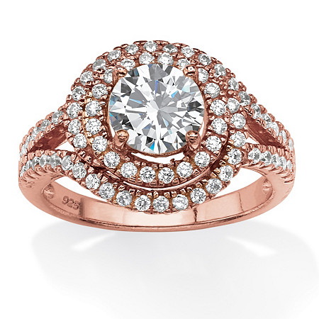 2.30 TCW Round Cubic Zirconia Double Halo Ring in Rose-Plated Sterling Silver at PalmBeach Jewelry