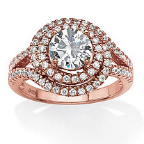 2.30 TCW Round Cubic Zirconia Double Halo Ring in Rose-Plated Sterling Silver