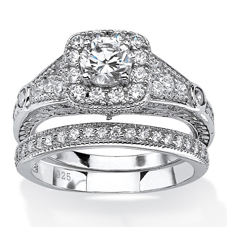 1.78 TCW Round Cubic Zirconia Two-Piece Halo Bridal Set in Platinum Over .925 Sterling Silver at PalmBeach Jewelry