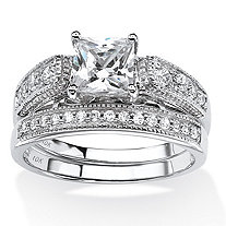 SETA JEWELRY Princess-Cut Cubic Zirconia 2-Piece Vintage Bridal Ring Set 1.50 TCW in Solid 10k White Gold