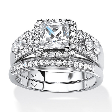 1.84 TCW Princess-Cut Cubic Zirconia Two-Piece Halo Bridal Set in Solid 10k White Gold at PalmBeach Jewelry