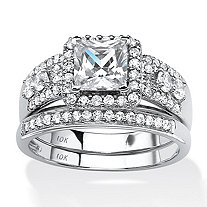 SETA JEWELRY 1.84 TCW Princess-Cut Cubic Zirconia Two-Piece Halo Bridal Set in Solid 10k White Gold