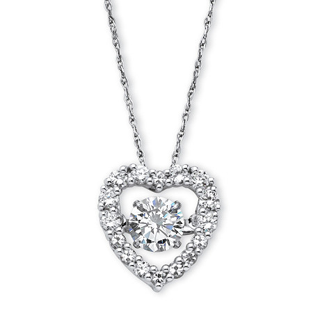 "1.46 TCW Round Cubic Zirconia CZ in Motion (TM) Heart Pendant in Platinum over Sterling Silver 18"" at PalmBeach Jewelry"