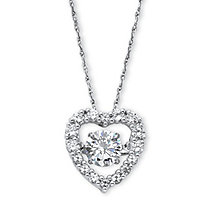 SETA JEWELRY 1.46 TCW Round Cubic Zirconia CZ in Motion (TM) Heart Pendant in Platinum over Sterling Silver 18