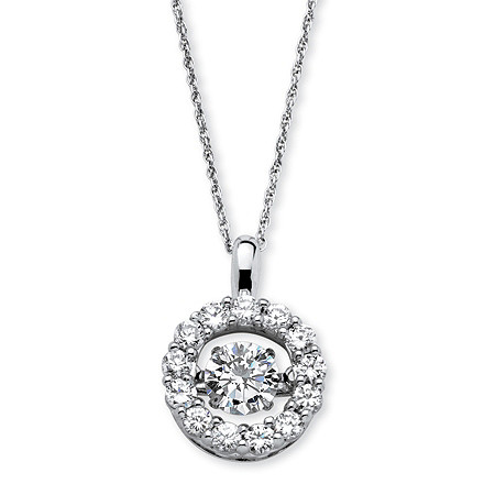 "1.76 TCW Round ""CZ in Motion"" Halo Necklace in Platinum over Sterling Silver 18"" at PalmBeach Jewelry"
