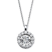 "1.76 TCW Round ""CZ in Motion"" Halo Necklace in Platinum over Sterling Silver 18"""