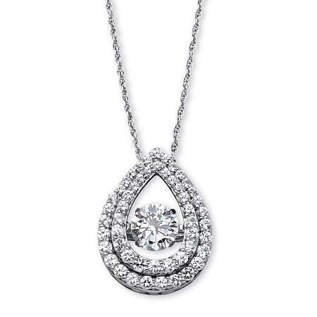 "1.75 TCW Cubic Zirconia ""CZ in Motion"" Pear-Shaped Halo Pendant in Platinum over Sterling Silver 18"" at PalmBeach Jewelry"