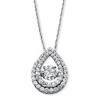 "1.75 TCW Cubic Zirconia ""CZ in Motion"" Pear-Shaped Halo Pendant in Platinum over Sterling Silver 18"""