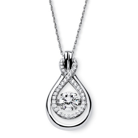 "1.24 TCW Cubic Zirconia ""CZ in Motion"" Double Loop Necklace in Platinum over Sterling Silver 18"" at PalmBeach Jewelry"