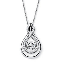 "1.24 TCW Cubic Zirconia ""CZ in Motion"" Double Loop Necklace in Platinum over Sterling Silver 18"""