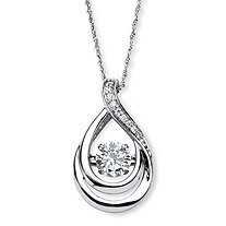 "1.06 TCW Cubic Zirconia ""CZ in Motion"" Drop Pendant Necklace in Platinum over Sterling Silver 18"""