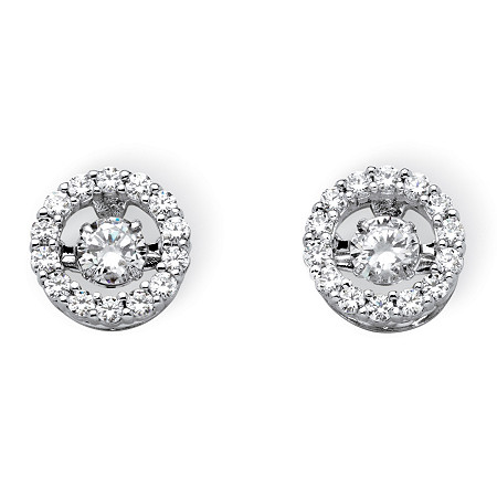 "1.92 TCW Round Cubic Zirconia ""CZ in Motion"" Halo Stud Earrings in Platinum over Sterling Silver at PalmBeach Jewelry"