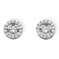 "1.92 TCW Round Cubic Zirconia ""CZ in Motion"" Halo Stud Earrings in Platinum over Sterling Silver"