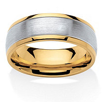 Men's Tailored Two-Tone Comfort Fit Band in Stainless Steel and Gold Ion-Plated Stainless Steel