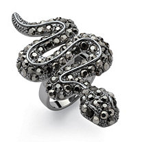 Crystal Snake Ring with Black Pave Crystals Black Ruthenium-Plated