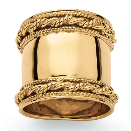 Cigar Band-Style Ring with Rope Detailing in 18k Yellow Gold over Sterling Silver at PalmBeach Jewelry