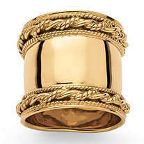 SETA JEWELRY Cigar Band-Style Ring with Rope Detailing in 18k Yellow Gold over Sterling Silver