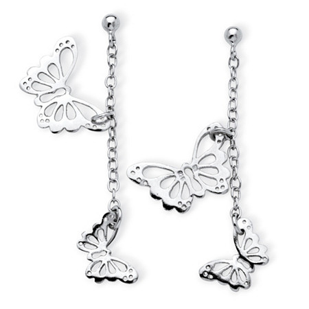Danging Cutout Butterfly Drop Earrings in .925 Sterling Silver at PalmBeach Jewelry